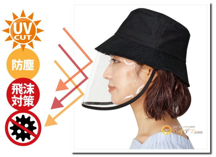 飛沫対策ガード帽子:UVカット 飛沫対策