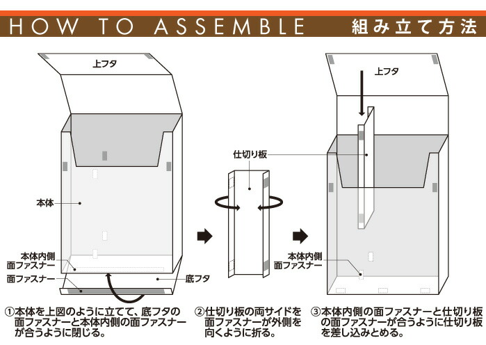 らくらくトイレットペーパー収納ケース レザー調:組立方法