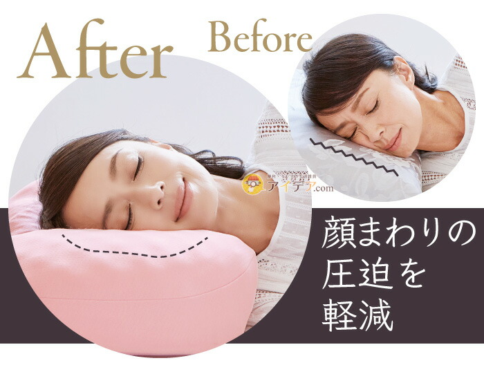 リンクルケア美容枕110:顔まわりの圧迫を軽減
