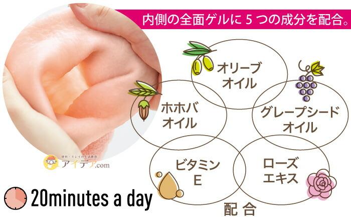 Beauty Drop ハイドロゲルグローブ:内側の全面ゲルにオリーブオイル、ホホバオイル、グレープシードオイル、ビタミンE、ローズエキスを配合