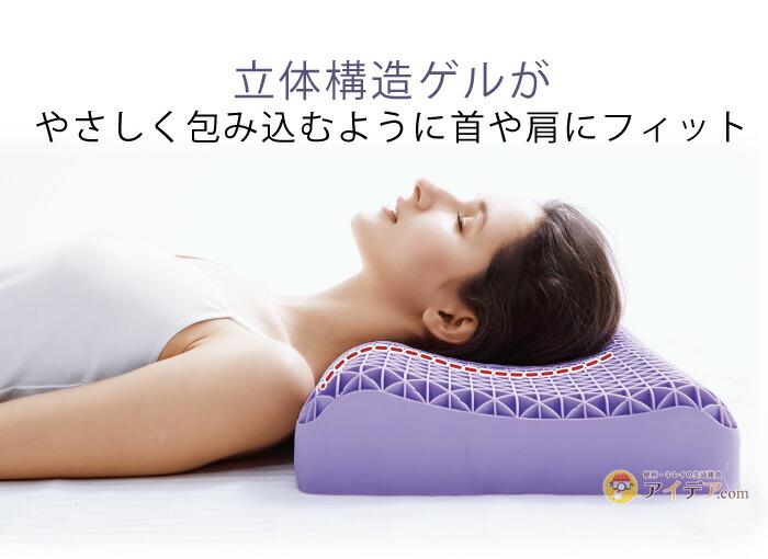 アクアピローハネナイト:立体構造ゲルが優しく包み込むように首や肩にフィット
