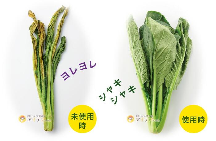チビシャキちゃん(3個組):未使用時&使用時比較