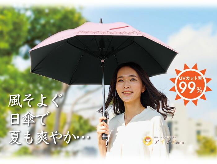 遮光1級扇風機日傘 パラファン50ピンク:イメージ