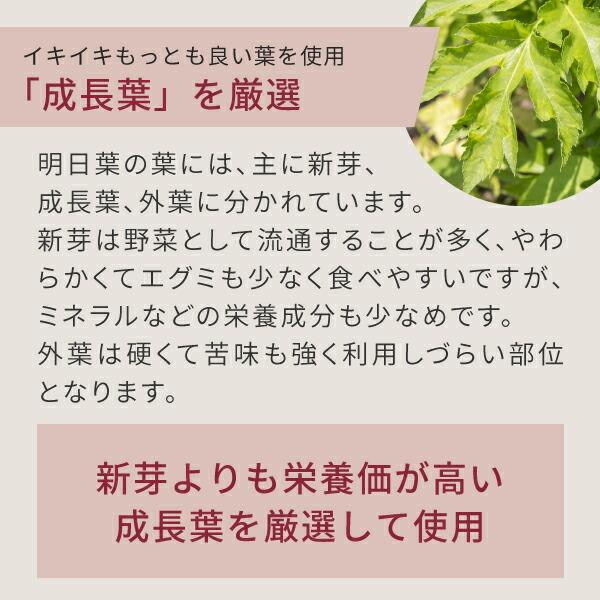 ニチエー明日葉青汁はイキイキ最も良い葉の成長葉を使用