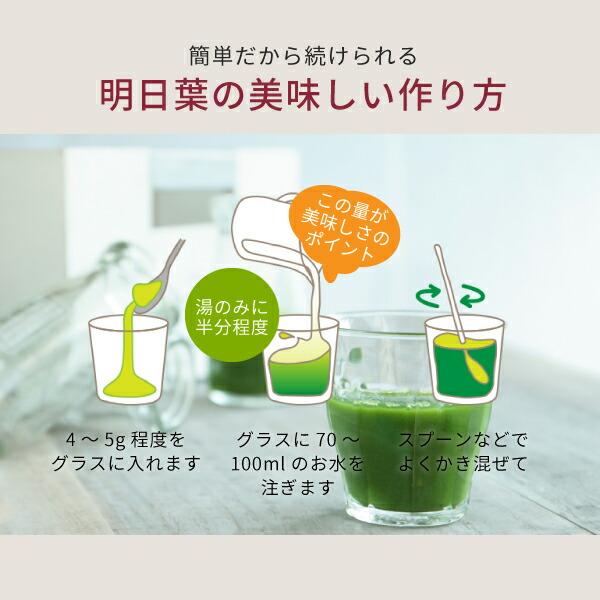 ニチエーオーガニック明日葉青汁の美味しい作り方