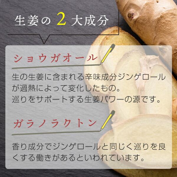 辛味成分ジンゲロールから変化した「ショウガオール」、生姜の香り成分「ガラノラクトン」が巡りをサポート