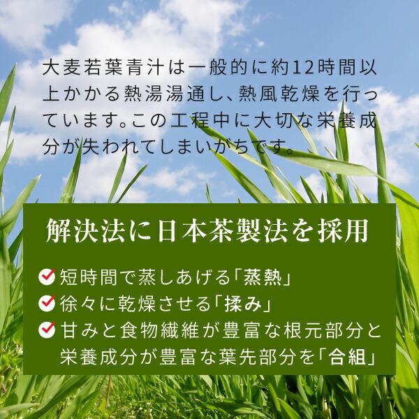 日本茶製法を採用ニチエーお茶製法大麦若葉青汁