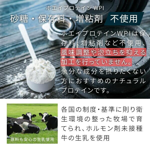 砂糖、保存料、増粘剤不使用のホエイプロテインWPI