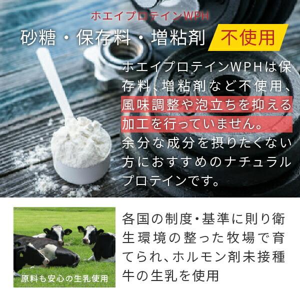 砂糖、保存料、増粘剤不使用のホエイプロテインWPH