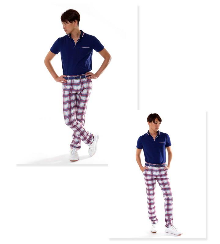 ゴルフ メンズ パンツ タータンチェック スリム ストレートパンツ クワッドポケット コモコーメ comocome お洒落 オシャレ おしゃれ チェック ゴルフパン