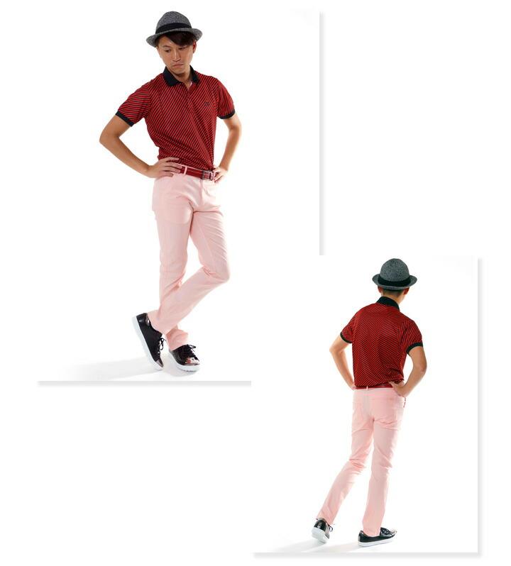 ゴルフ メンズ パンツ スリム ストレートパンツ クワッドポケット コモコーメ comocome お洒落 オシャレ おしゃれ ゴルフパンツ ピンク イエロー