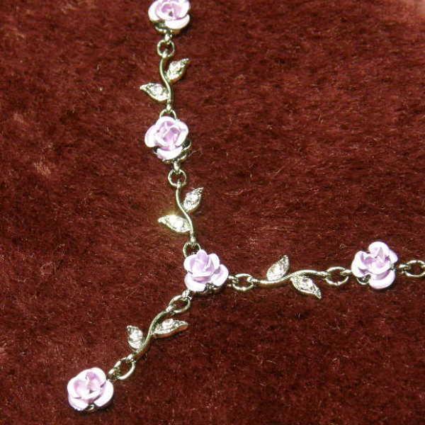 薔薇ネックレス パープルネックレス ペンダント アクセサリーバラ 薔薇 ローズレディース 彼女 女性用