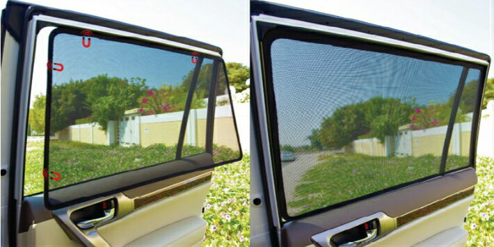 《サンシェード[トヨタ 150プラド専用]》 LASERSHADES-レーザーシェード フロント2枚セット車種別設計で窓枠ぴったりスモーク・フィルムより簡単取り付け! 紫外線UVカット/ 装着したまま窓の開閉OK目隠し/ 日よけ/ アウトドア