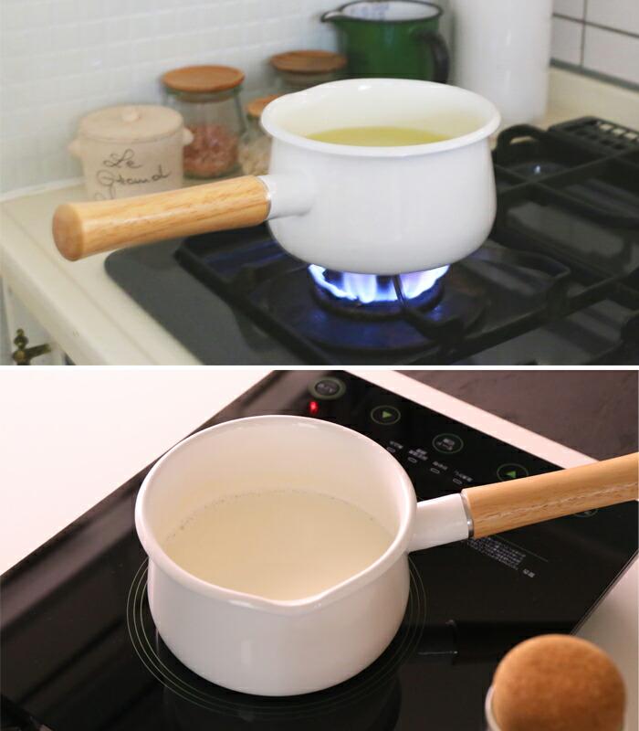 富士ホーロー,ホーロー鍋,琺瑯鍋,ミルクパン,フタ付き,片手鍋,15cm