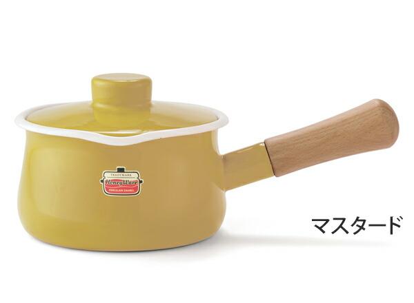 富士ホーロー,ホーロー鍋,琺瑯鍋,ミルクパン,フタ付き,片手鍋,15cm,ソリッド,マスタード