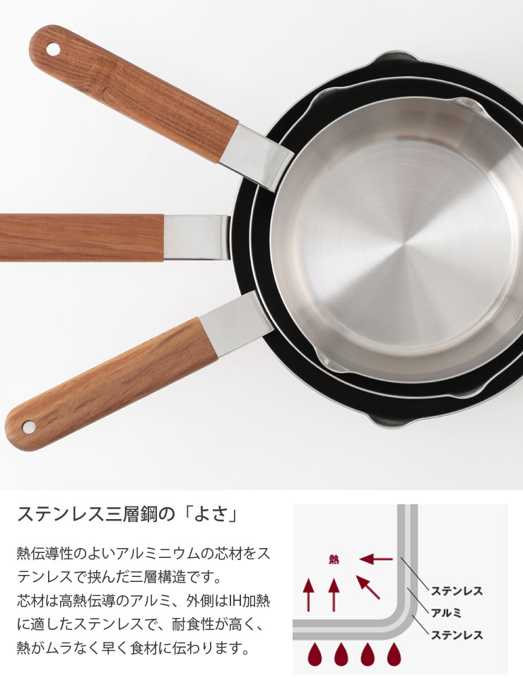 ambai,あんばい,雪平鍋,行平鍋,片手鍋,16cm,ステンレス・アルミ三層鋼,日本製,通販