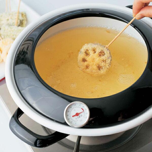 富士ホーロー,ホーロー鍋,琺瑯鍋,天ぷら鍋,てんぷら鍋,温度計付き,24cm,ハニーウェア,IH対応