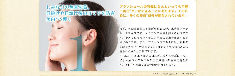 1:しみなどの色素沈着、日焼けや日焼け後のほてりを防ぎ、美肌へ導く
