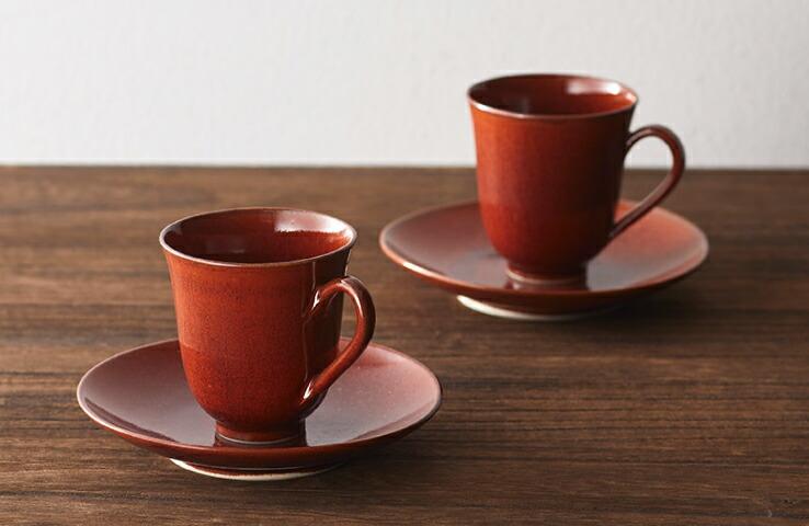 はんなり 柿釉 ペアコーヒー 食器 取り皿 カップ コーヒー 美濃焼 贈り物 プチギフト 贈答