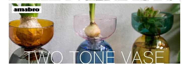 アマブロ フラワーベース 花瓶 耐熱グラス ガーデニング 一輪挿し 生け花 水耕栽培用 ポット ディフューザーボトル 北欧 かびん 花器 かわいい インテリア雑貨 おしゃれ amabro AMABRO TWO TONE VASE プレゼント ギフト
