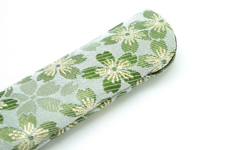 扇子袋ー金襴 緑 22cm お洒落 金襴 豪華 指し袋 扇子