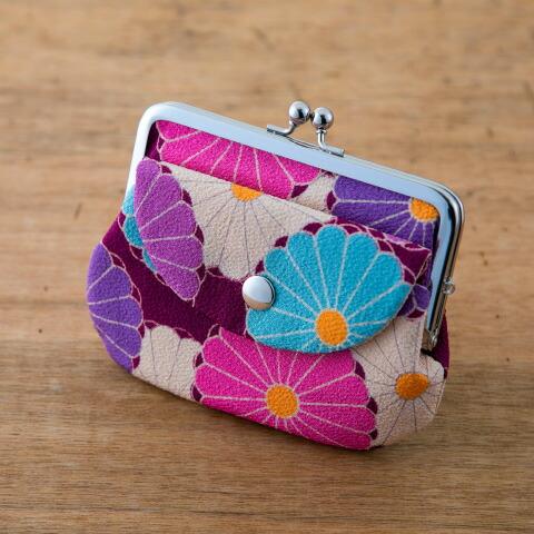 親子がま口 菊華 黄色 イエロー  ピンク 桃色 紫色 パープル 便利 がま口 二重構造 携帯 小物 小銭 財布 和柄 おしゃれ 可愛い