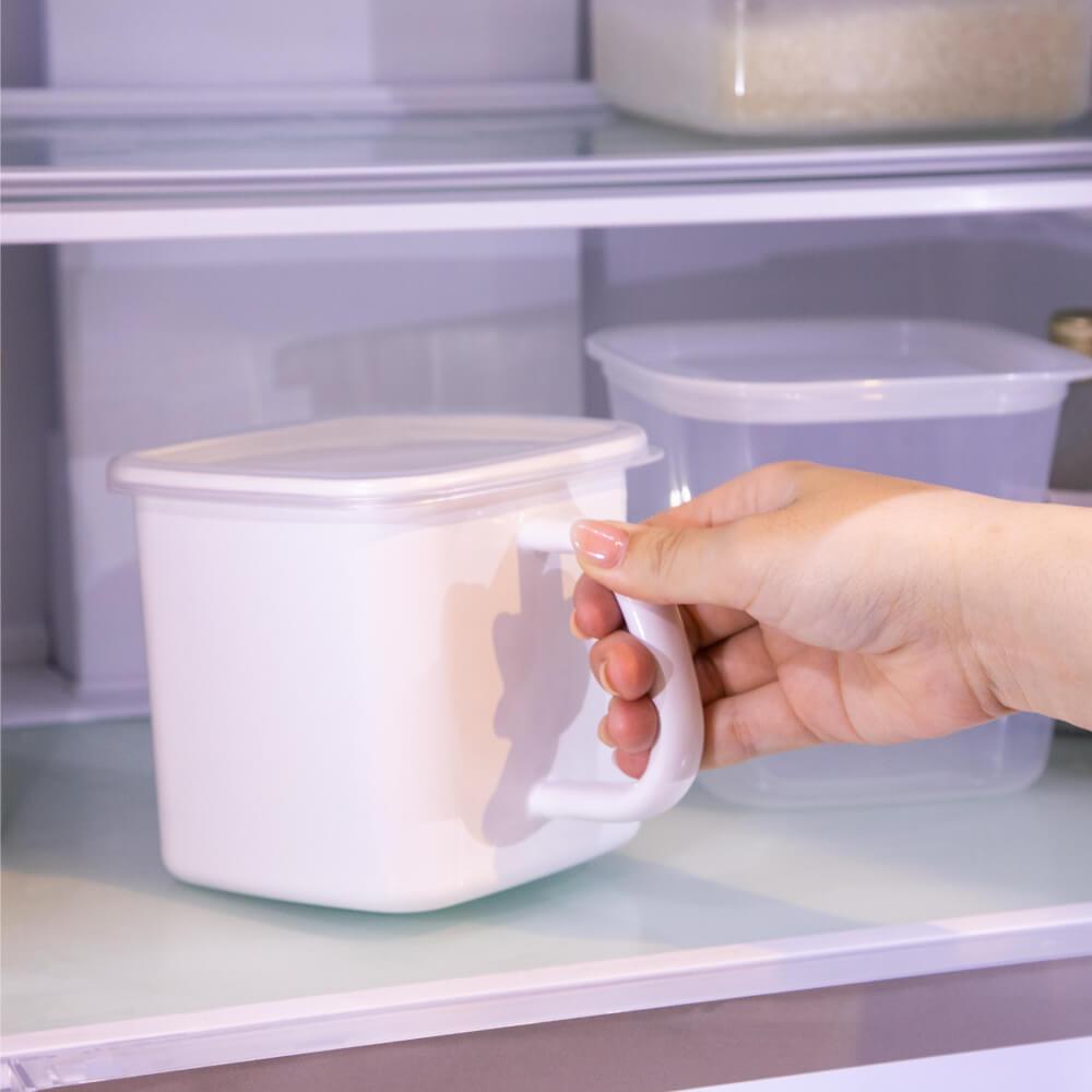 野田琺瑯 持ち手ストッカー角型L シール蓋付 ホワイトシリーズ 保存容器 MS-12 シンプル おしゃれ ほうろう ホーロー 白 キッチン 調理道具