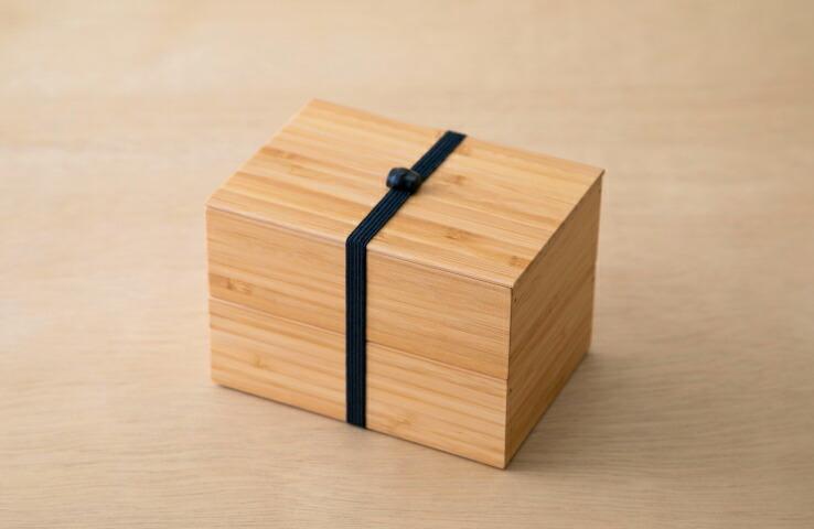 二段弁当箱 黒 竹製 日本製 ナチュラル お弁当 ランチボックス 自然 ゴムバンド 天然 ブラック