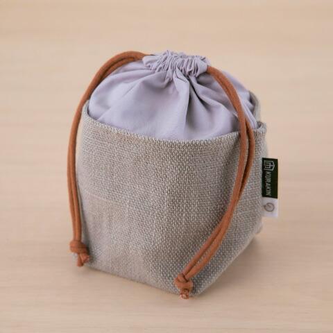 のこり染 巾着   可愛い 小さい バッグインバック 小物入れ エコ