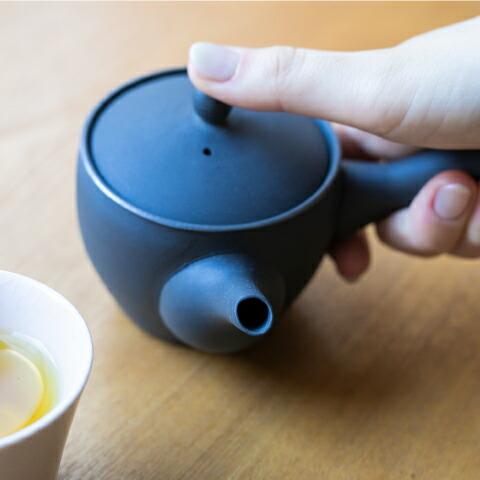 急須 芙蓉 黒くすべ 190cc 萬古焼 おしゃれ 日本製 レトロ 伝統工芸 �b器 半磁器 シンプル 万古焼 お茶 来客用 和食器 紅茶 白湯 まろやか おすすめ 北欧 セット 南景製陶園