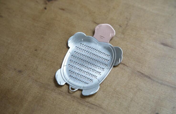 純銅製 卓上おろし金 カメ型 薬味用 薬味用 卓上 純銅 スズメッキ おろし金 料理 キッチン用品 手作り 日本製 亀