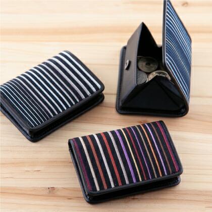 縞縞コインケース 小倉織 小銭入れ  財布 ウォレット 大開口 9cm×7cm ポケットサイズ たて縞  ストライプ 築城則子 日本 和柄 和雑貨