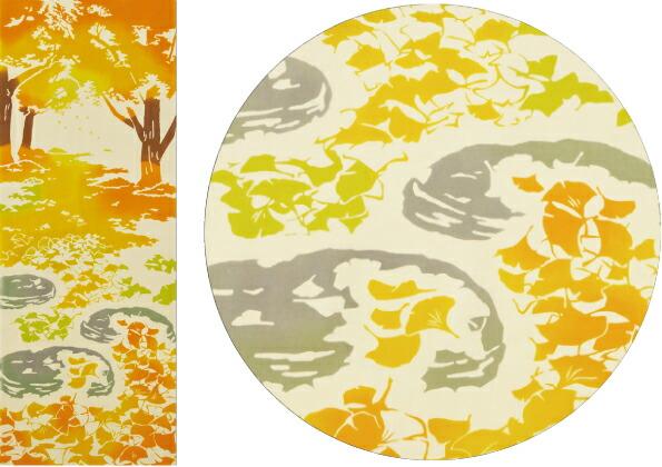 気音間 手ぬぐい 銀杏の絨毯 手ぬぐい 秋 銀杏 金色 かわいい おしゃれ 綿 手拭