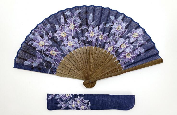婦人扇子 藍の彩りセット 鉄線 藍染風 お洒落 婦人用 鉄線 花柄 浴衣 夏
