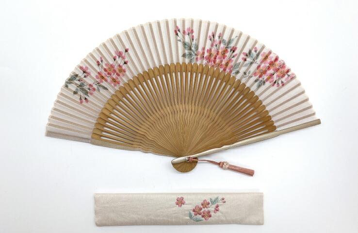 婦人扇子 彩華セット 桜 お洒落 可愛い 婦人用 扇子 夏 扇子入れ 指し袋 たらしこみ