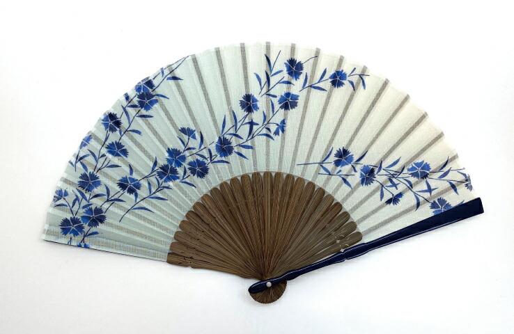 婦人扇子 花音 ブルー 撫子 清涼感 女性用 秋の七草 青 濃淡 ぼかし 上品 優雅