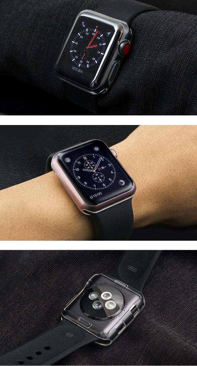 apple watch,アップルウォッチ,ケース,カバー,クリアケース,クリア,透明,TPU,ソフトケース,ソフトカバー,液晶保護,シンプル,38mm,42mm