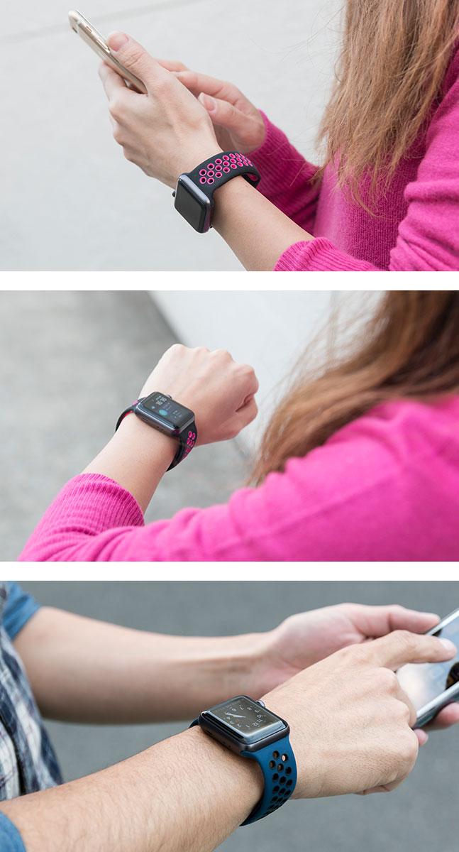 apple watch,アップルウォッチ,ベルト,バンド,シリコン,スポーツ,運動,ジョギング,ランニング,穴,蛍光,ネオンカラー