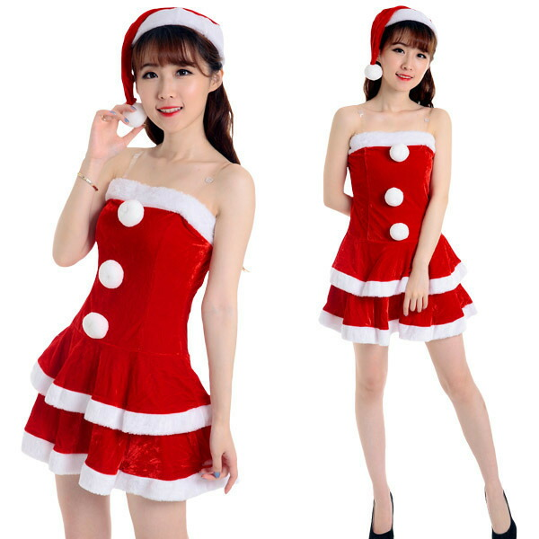 Coscommu Base Up Top Santa Gurley Frill Dress Costume Play Pretty