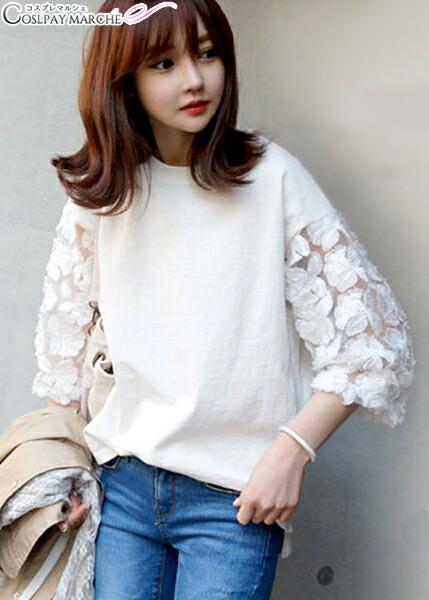 ファッション/アパレル/七分丈袖レースホワイトTシャツM