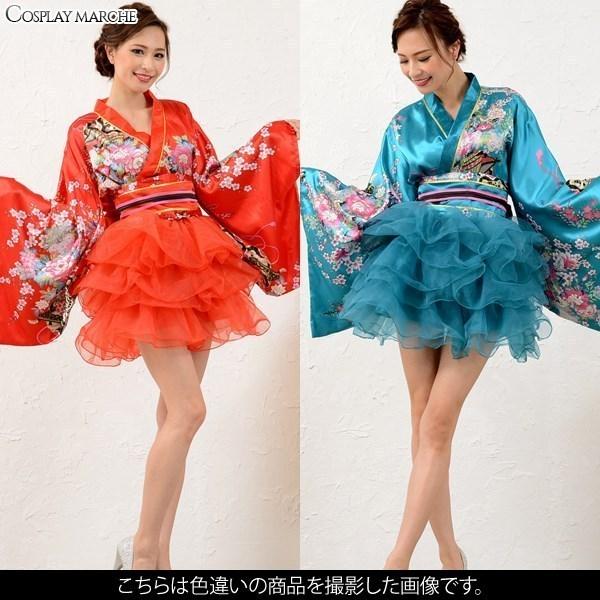 着物ドレス/浴衣/ロング/<LoveRich>サテン和柄豪華花魁ミニ着物チュールドレス和柄花魁キャバドレス(イエローグリーン)