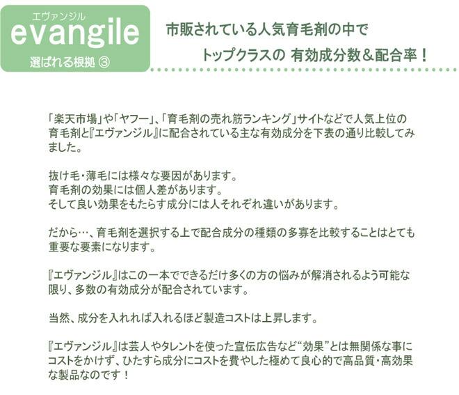 薬用育毛剤 エヴァンジル 18 選ばれる理由3
