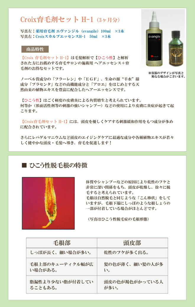 Croxi育毛剤セット エヴァンジル+CroixスカルプエッセンスH-1 商品特性