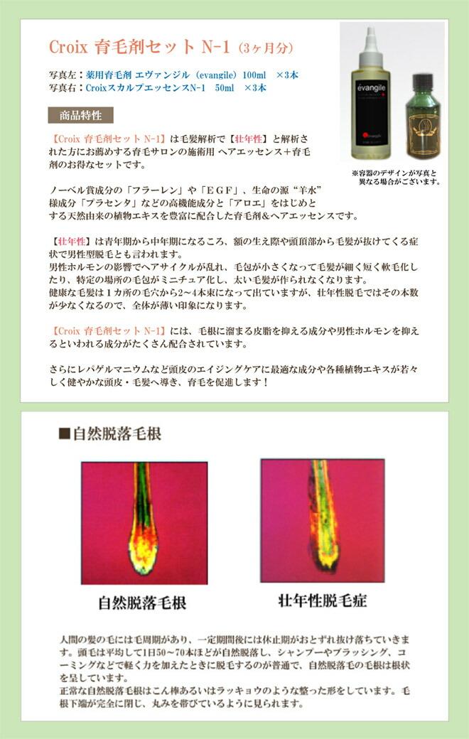 Croxi育毛剤セット エヴァンジル+CroixスカルプエッセンスN-1 商品特性