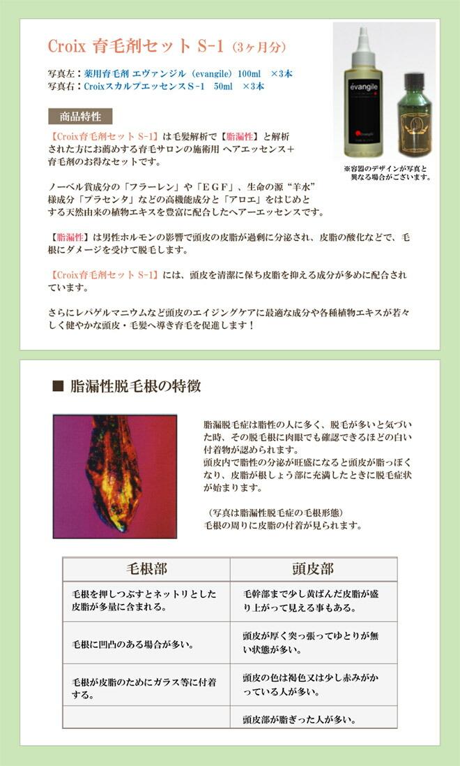 Croxi育毛剤セット エヴァンジル+CroixスカルプエッセンスS-1 商品特性