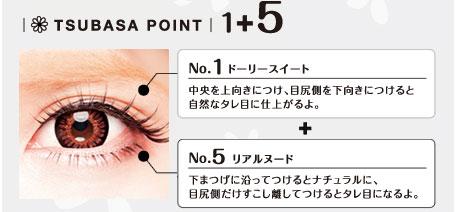 No.1ドーリースイート中央を上向きにつけ、目尻側を下向きにつけると自然なタレ目に仕上がるよ。+No.5リアルヌード下まつげに沿ってつけるとナチュラルに、目尻が和だけすこし離してつけるとタレ目になるよ。