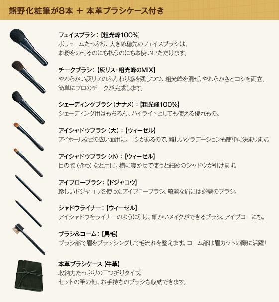 熊野化粧筆が8本 本革ブラシケース付き