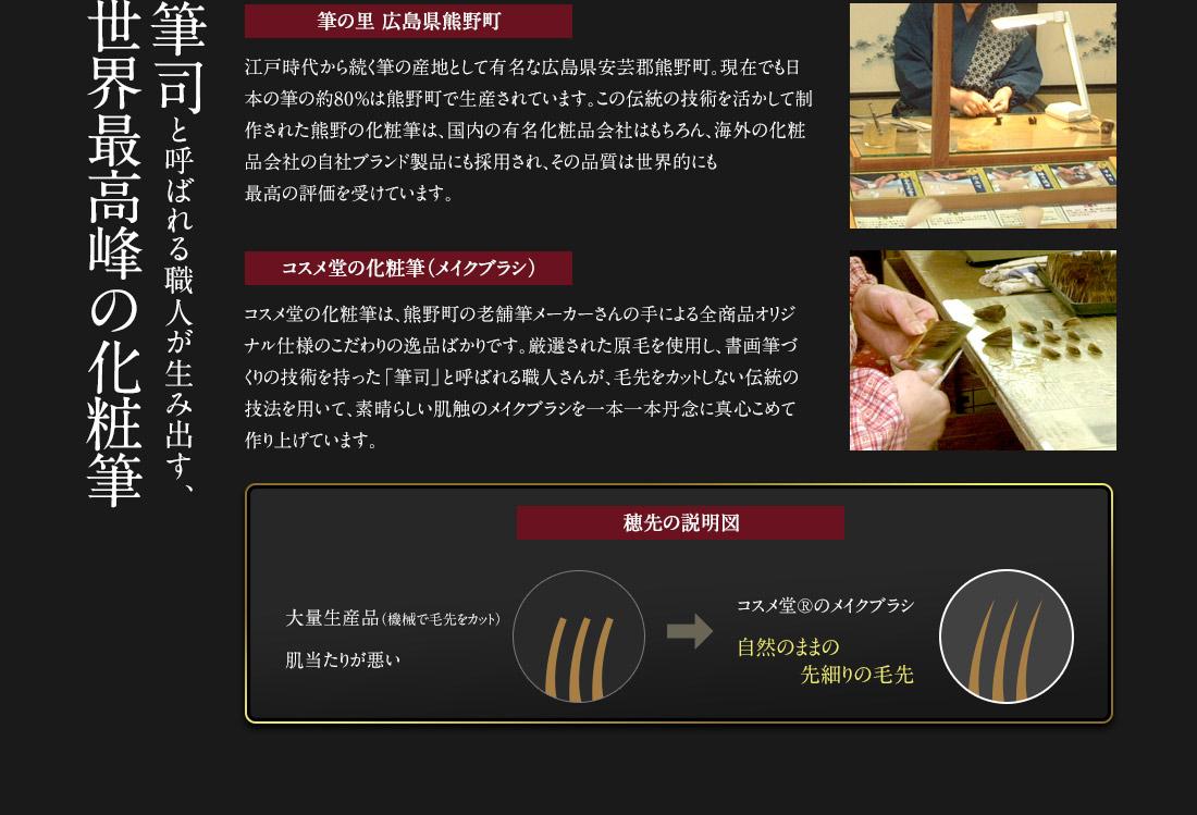 「筆の里 広島県熊野町」筆司と呼ばれる職人が生み出す、世界最高峰の化粧筆を使用したコスメ堂オリジナル仕様の化粧筆(メイクブラシ)
