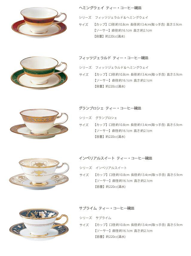 ノリタケ ティー・コーヒー碗皿5客 アソートセット(絵変り)220cc (F59587-5PC)