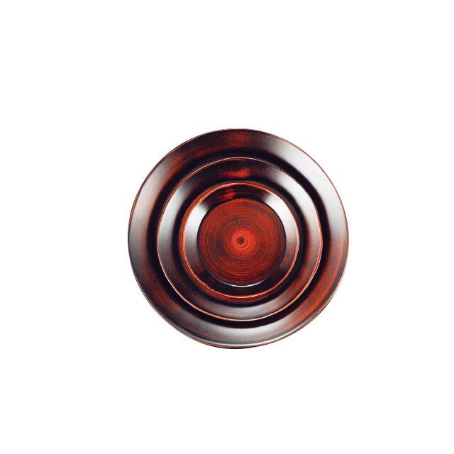 和美作日 Wabisabi サークルプレート 赤茶レトロ木目 M 3個セット (i2-054-02)